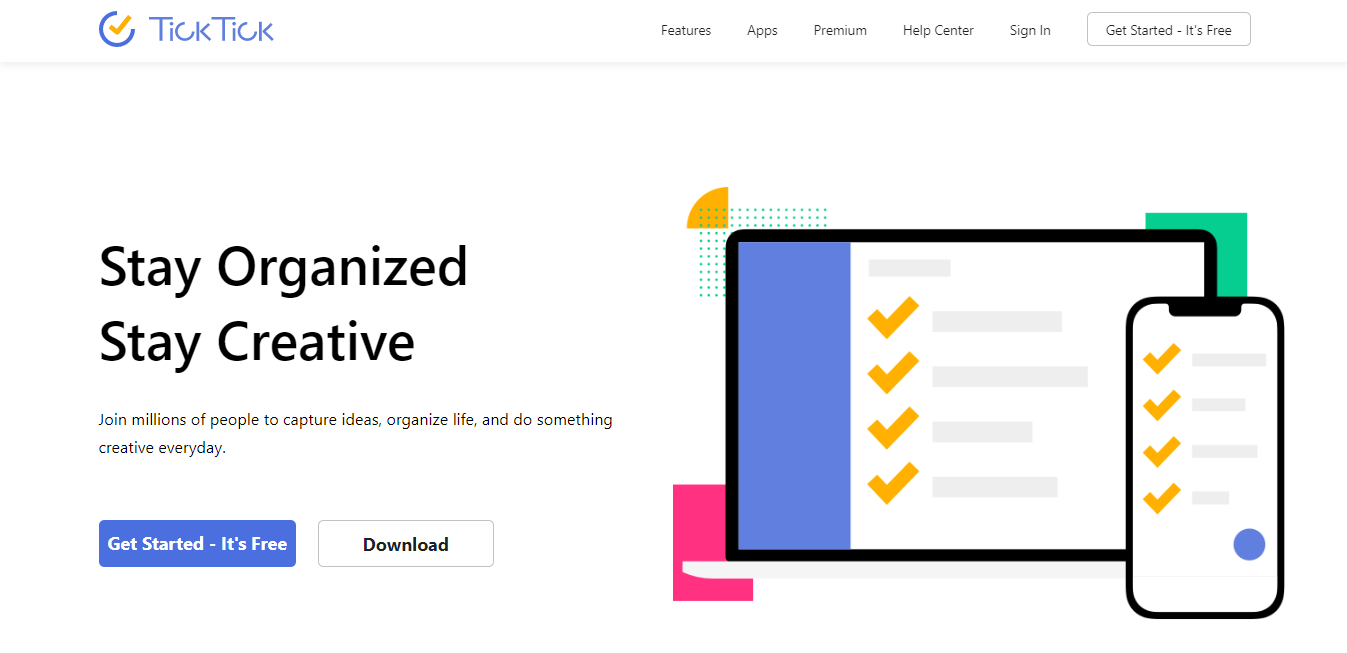 ticktick home page - workgroup management application