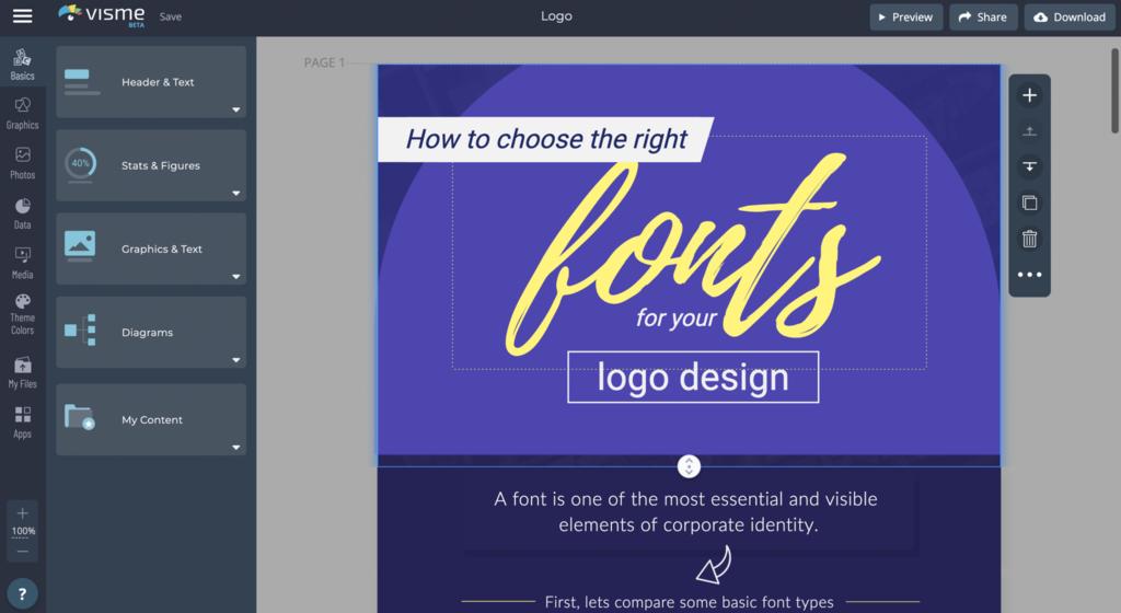 Online logo design on visme