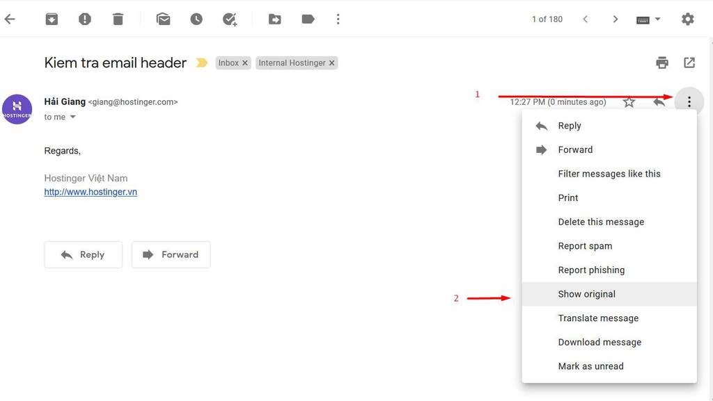 Open gmail email header view