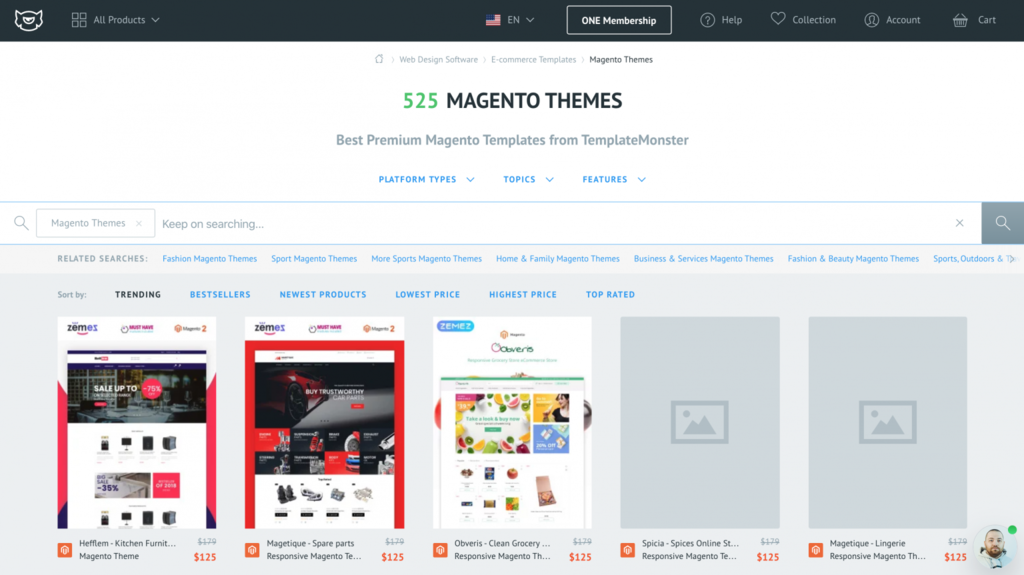 template monster magento để mở shop online