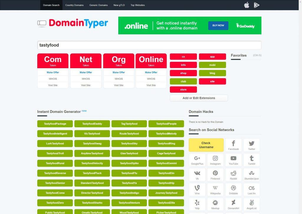 domain typer - tìm tên miền đẹp