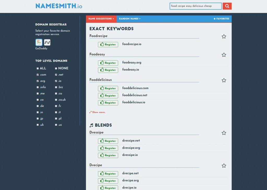 namesmith domain name generator